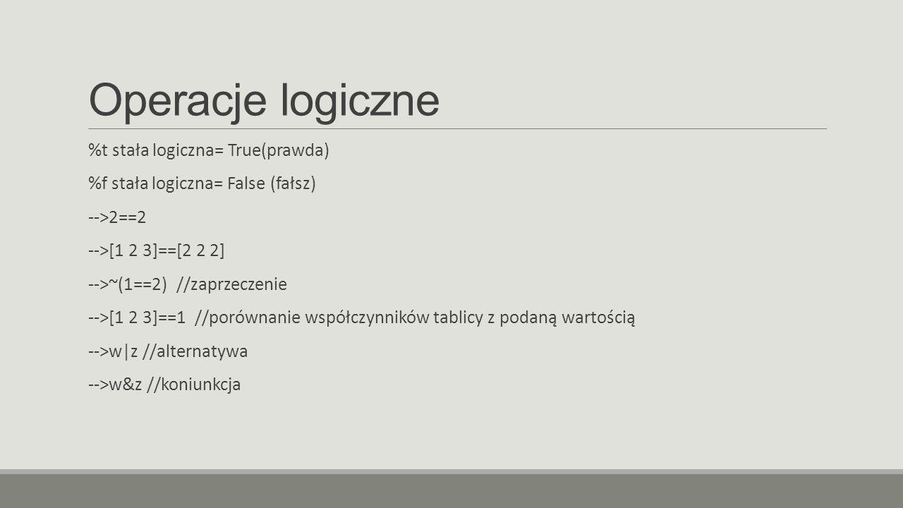 Operacje logiczne %t stała logiczna= True(prawda) %f stała logiczna= False (fałsz) -->2==2 -->[1 2 3]==[2 2 2] -->~(1==2) //zaprzeczenie -->[1 2 3]==1