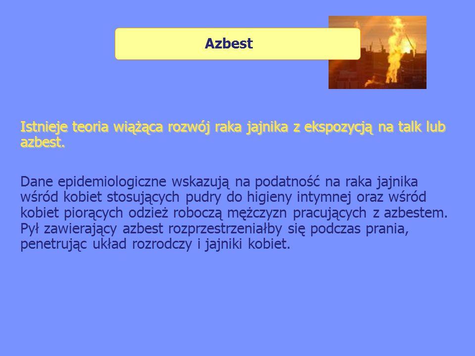 Azbest Istnieje teoria wiążąca rozwój raka jajnika z ekspozycją na talk lub azbest.