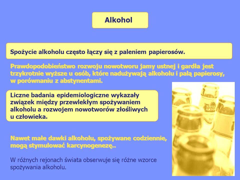 Alkohol Spożycie alkoholu często łączy się z paleniem papierosów.