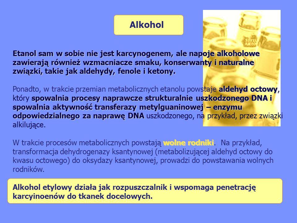 Etanol sam w sobie nie jest karcynogenem, ale napoje alkoholowe zawierają również wzmacniacze smaku, konserwanty i naturalne związki, takie jak aldehydy, fenole i ketony.