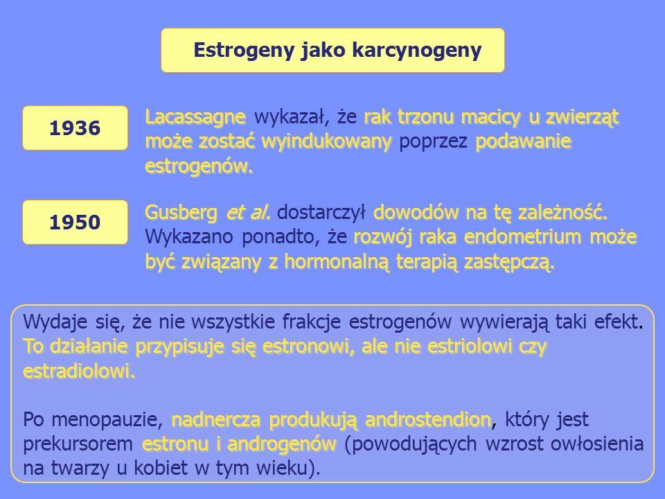 Estrogeny jako karcynogeny To działanie przypisuje się estronowi, ale nie estriolowi czy estradiolowi.