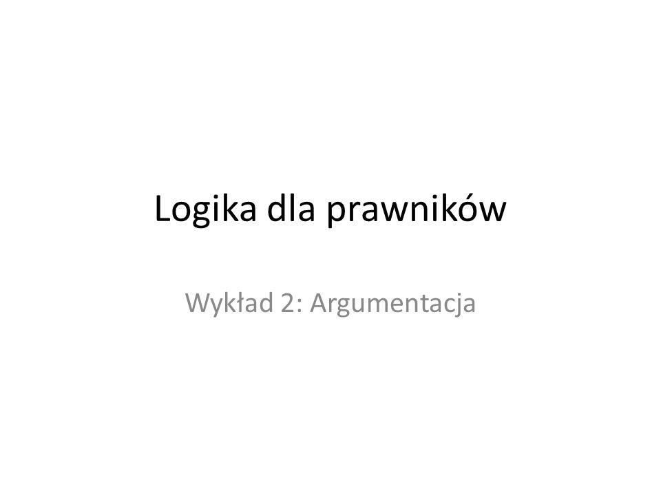 Logika dla prawników Wykład 2: Argumentacja