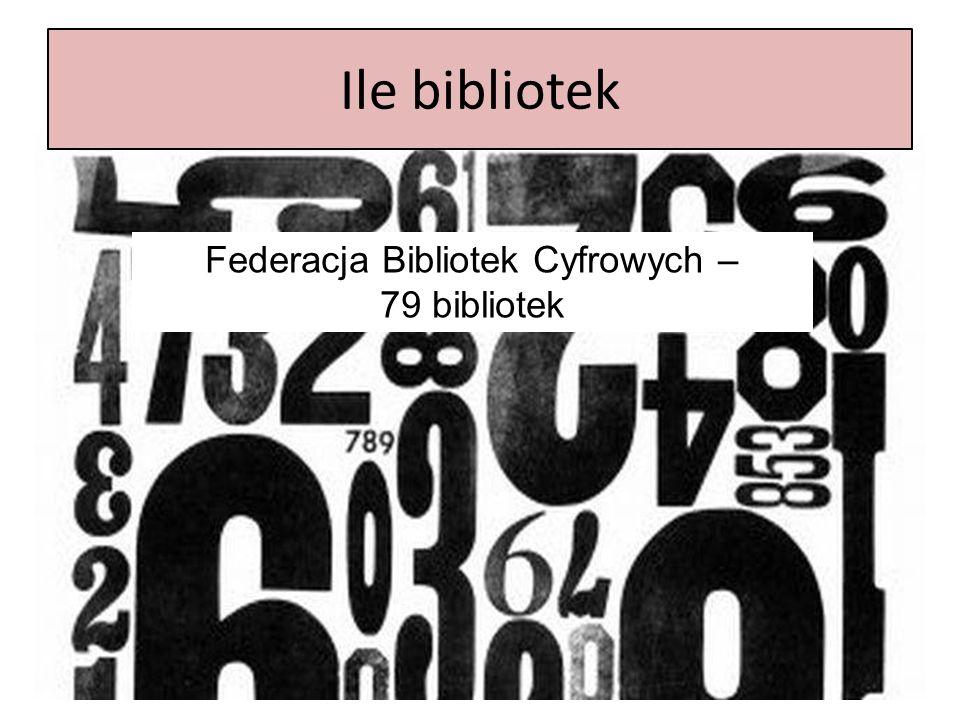 Ile bibliotek Federacja Bibliotek Cyfrowych – 79 bibliotek