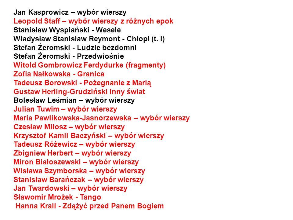 Jan Kasprowicz – wybór wierszy Leopold Staff – wybór wierszy z różnych epok Stanisław Wyspiański - Wesele Władysław Stanisław Reymont - Chłopi (t.