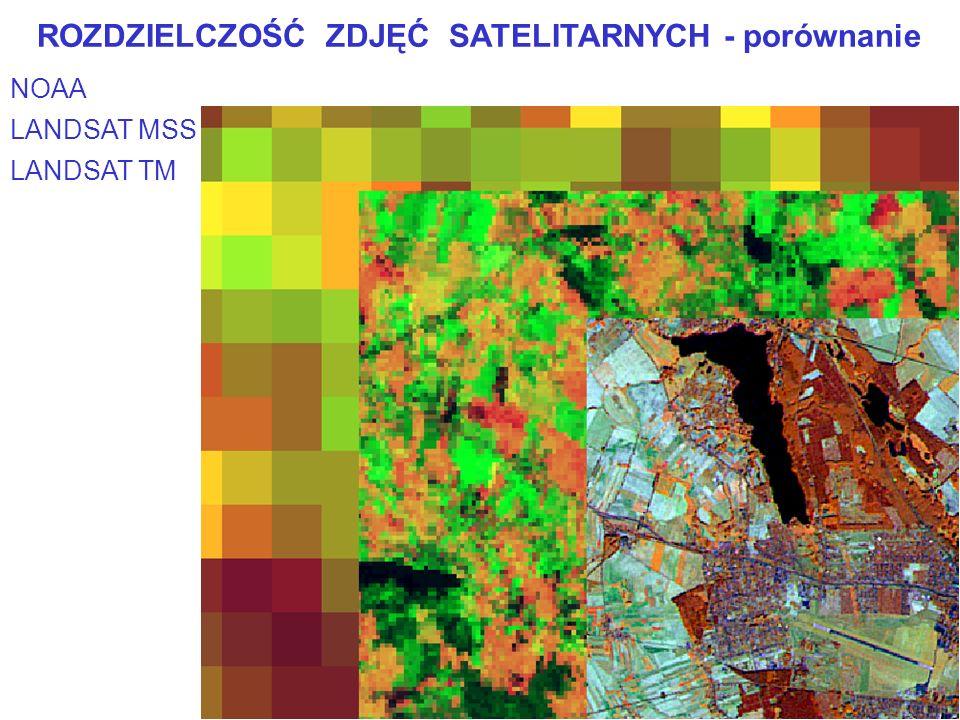 12 NOAA ROZDZIELCZOŚĆ ZDJĘĆ SATELITARNYCH - porównanie LANDSAT MSS LANDSAT TM
