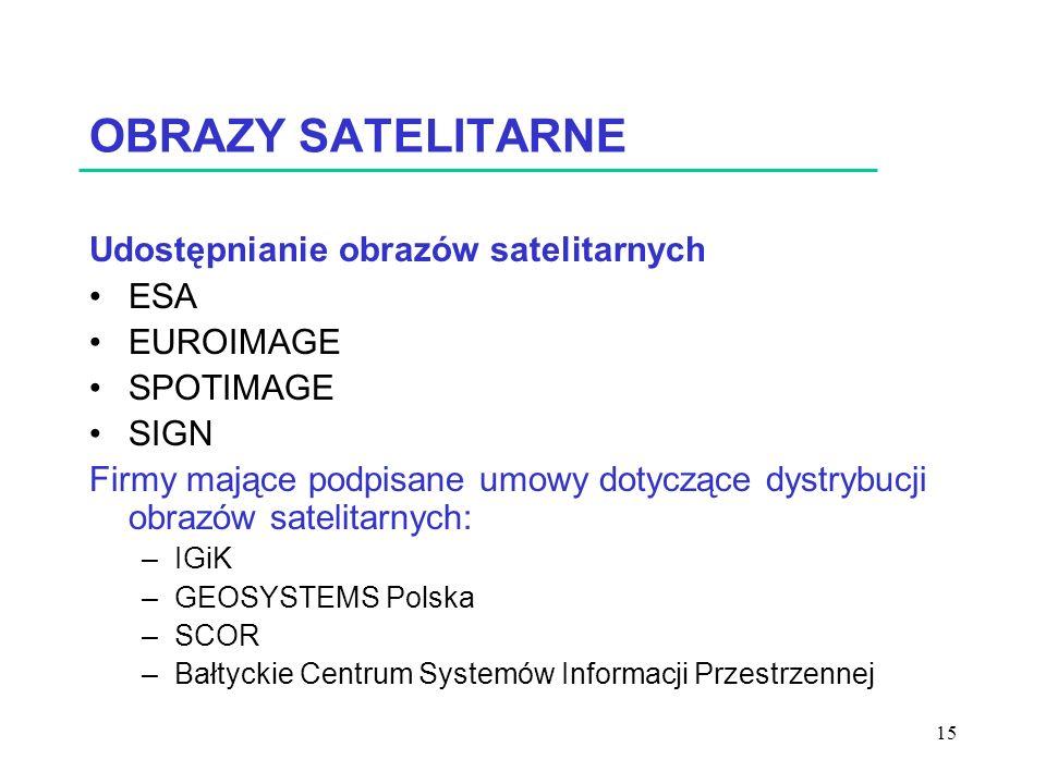 15 OBRAZY SATELITARNE Udostępnianie obrazów satelitarnych ESA EUROIMAGE SPOTIMAGE SIGN Firmy mające podpisane umowy dotyczące dystrybucji obrazów satelitarnych: –IGiK –GEOSYSTEMS Polska –SCOR –Bałtyckie Centrum Systemów Informacji Przestrzennej
