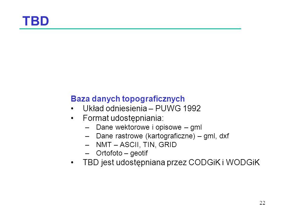 22 TBD Baza danych topograficznych Układ odniesienia – PUWG 1992 Format udostępniania: –Dane wektorowe i opisowe – gml –Dane rastrowe (kartograficzne) – gml, dxf –NMT – ASCII, TIN, GRID –Ortofoto – geotif TBD jest udostępniana przez CODGiK i WODGiK