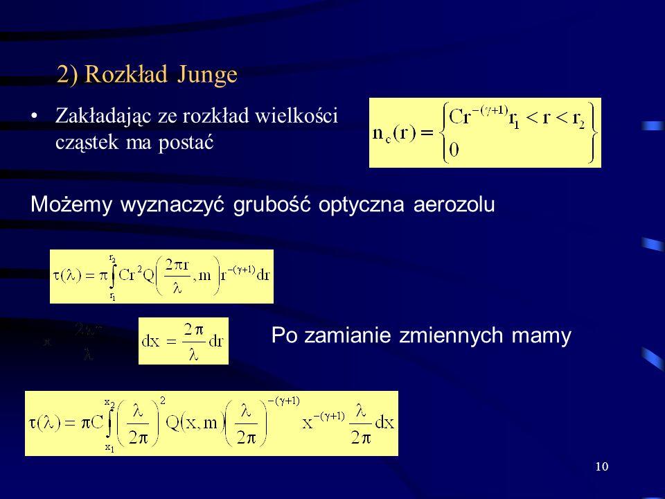 10 2) Rozkład Junge Zakładając ze rozkład wielkości cząstek ma postać Możemy wyznaczyć grubość optyczna aerozolu Po zamianie zmiennych mamy
