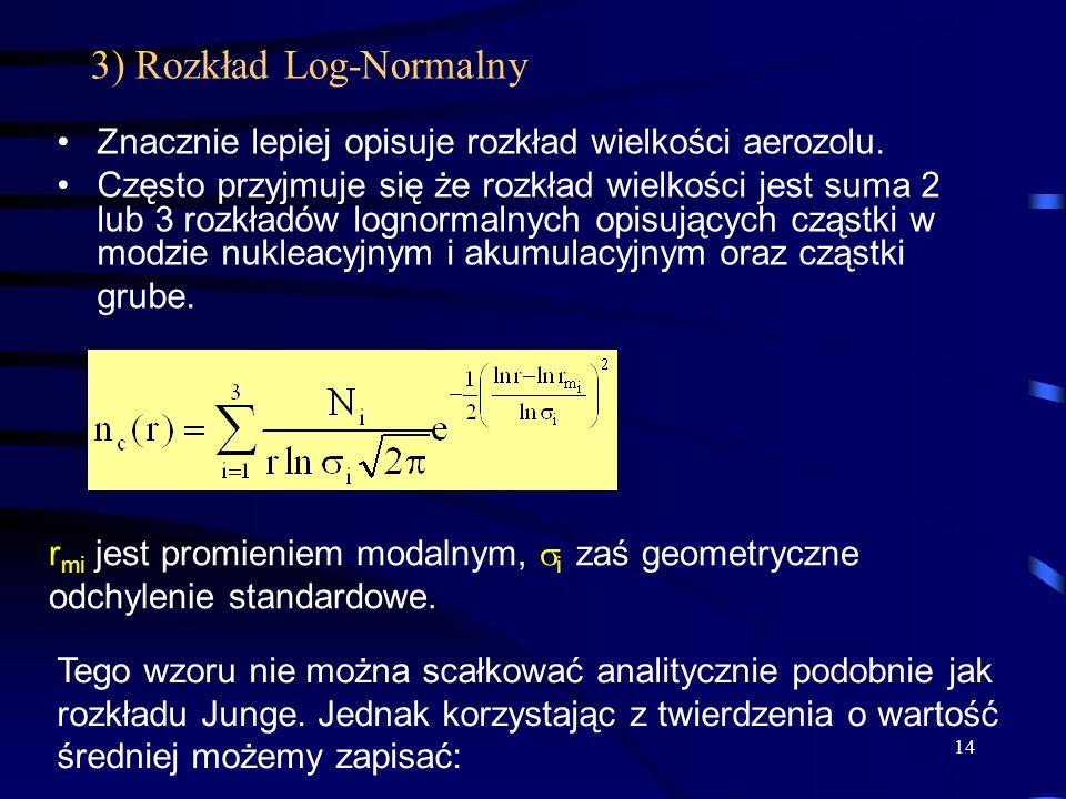 14 3) Rozkład Log-Normalny Znacznie lepiej opisuje rozkład wielkości aerozolu. Często przyjmuje się że rozkład wielkości jest suma 2 lub 3 rozkładów l