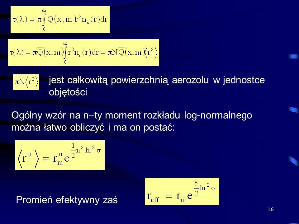 16 jest całkowitą powierzchnią aerozolu w jednostce objętości Ogólny wzór na n–ty moment rozkładu log-normalnego można łatwo obliczyć i ma on postać: