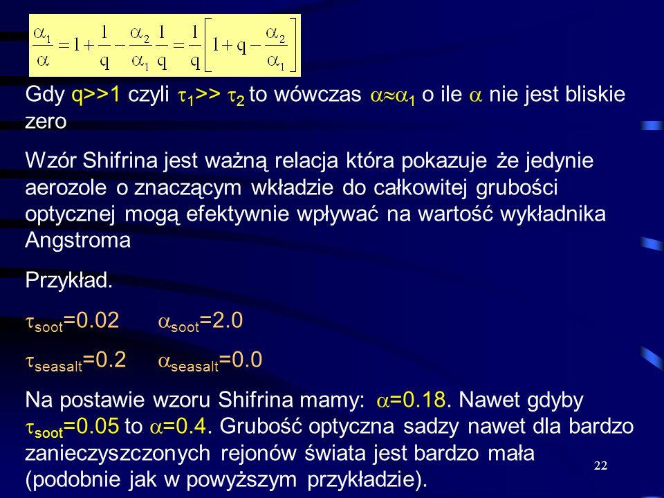 22 Gdy q>>1 czyli  1 >>  2 to wówczas  1 o ile  nie jest bliskie zero Wzór Shifrina jest ważną relacja która pokazuje że jedynie aerozole o znac