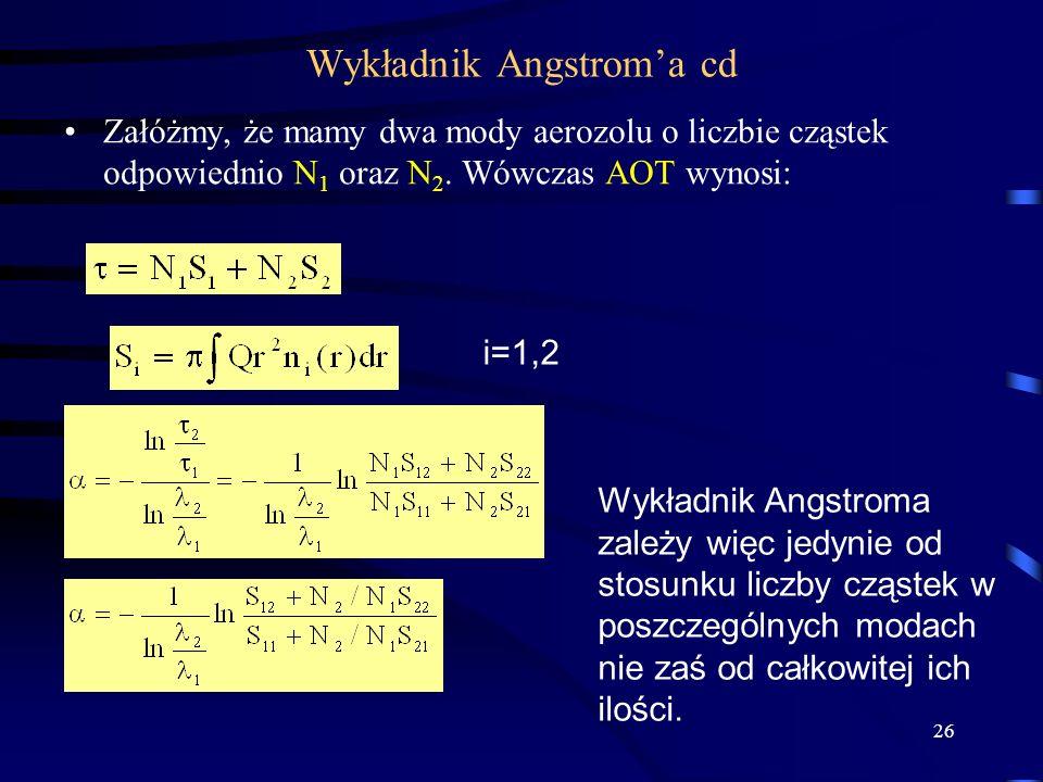26 Wykładnik Angstrom'a cd Załóżmy, że mamy dwa mody aerozolu o liczbie cząstek odpowiednio N 1 oraz N 2. Wówczas AOT wynosi: i=1,2 Wykładnik Angstrom
