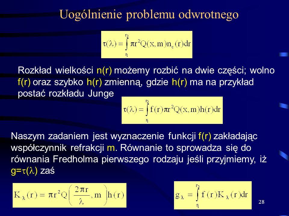 28 Uogólnienie problemu odwrotnego Rozkład wielkości n(r) możemy rozbić na dwie części; wolno f(r) oraz szybko h(r) zmienną, gdzie h(r) ma na przykład