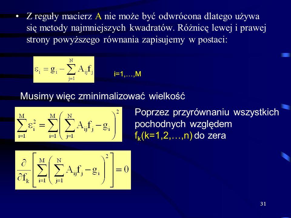 31 Z reguły macierz A nie może być odwrócona dlatego używa się metody najmniejszych kwadratów. Różnicę lewej i prawej strony powyższego równania zapis