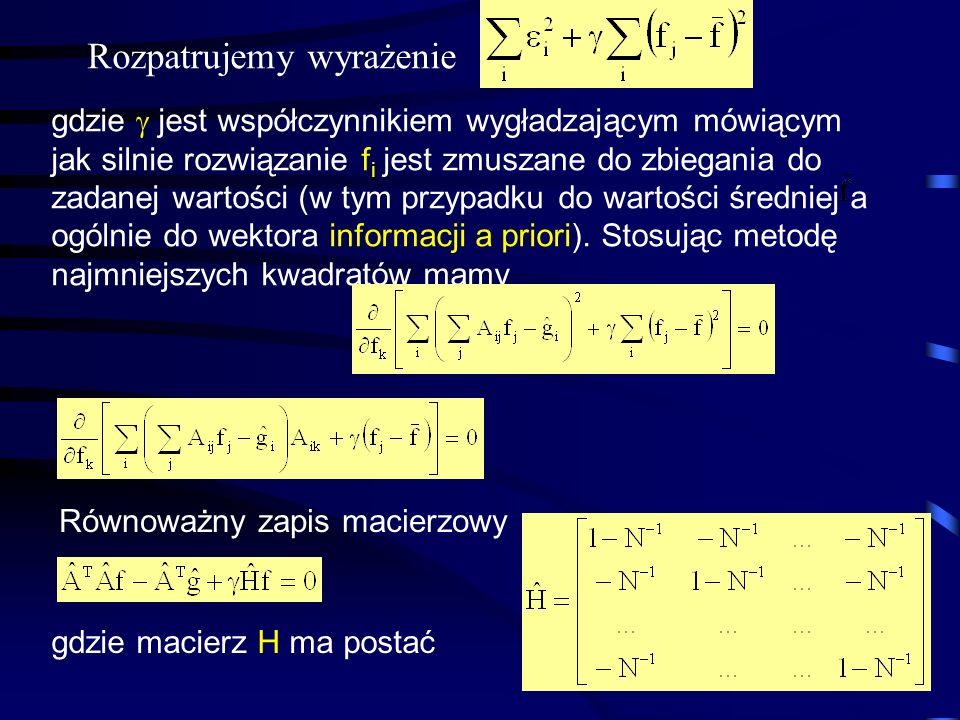 33 Rozpatrujemy wyrażenie gdzie  jest współczynnikiem wygładzającym mówiącym jak silnie rozwiązanie f i jest zmuszane do zbiegania do zadanej wartośc