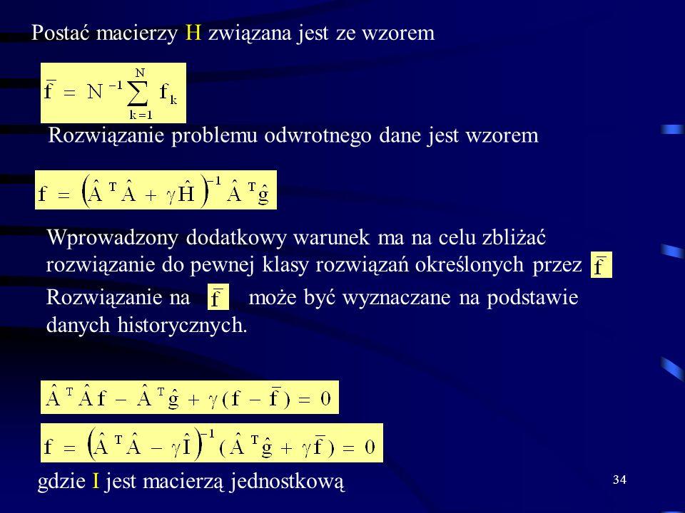 34 Postać macierzy H związana jest ze wzorem gdzie I jest macierzą jednostkową Wprowadzony dodatkowy warunek ma na celu zbliżać rozwiązanie do pewnej