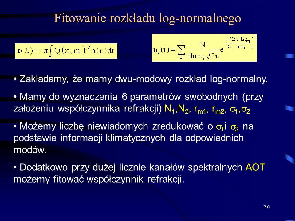 36 Fitowanie rozkładu log-normalnego Zakładamy, że mamy dwu-modowy rozkład log-normalny. Mamy do wyznaczenia 6 parametrów swobodnych (przy założeniu w