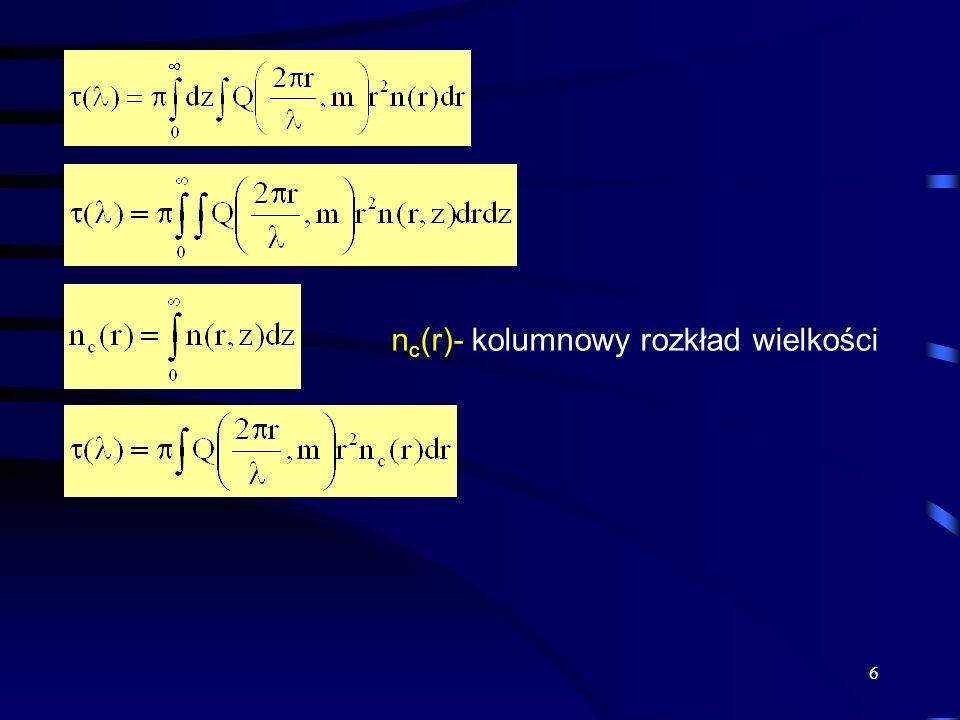 6 n c (r)- kolumnowy rozkład wielkości