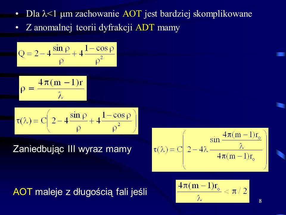 8 Dla <1  m zachowanie AOT jest bardziej skomplikowane Z anomalnej teorii dyfrakcji ADT mamy Zaniedbując III wyraz mamy AOT maleje z długością fali j