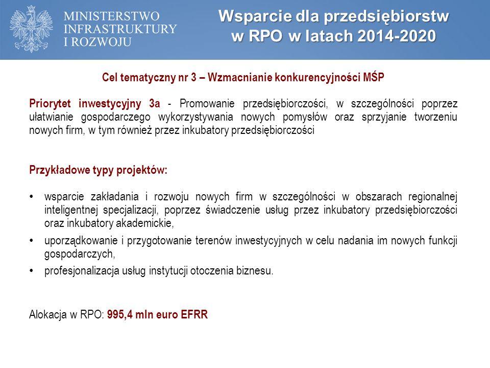 Wsparcie dla przedsiębiorstw w RPO w latach 2014-2020 Cel tematyczny nr 3 – Wzmacnianie konkurencyjności MŚP Priorytet inwestycyjny 3a - Promowanie przedsiębiorczości, w szczególności poprzez ułatwianie gospodarczego wykorzystywania nowych pomysłów oraz sprzyjanie tworzeniu nowych firm, w tym również przez inkubatory przedsiębiorczości Przykładowe typy projektów: wsparcie zakładania i rozwoju nowych firm w szczególności w obszarach regionalnej inteligentnej specjalizacji, poprzez świadczenie usług przez inkubatory przedsiębiorczości oraz inkubatory akademickie, uporządkowanie i przygotowanie terenów inwestycyjnych w celu nadania im nowych funkcji gospodarczych, profesjonalizacja usług instytucji otoczenia biznesu.