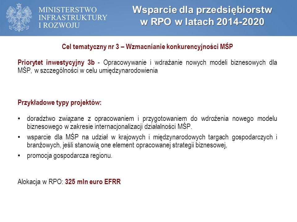 Wsparcie dla przedsiębiorstw w RPO w latach 2014-2020 Cel tematyczny nr 3 – Wzmacnianie konkurencyjności MŚP Priorytet inwestycyjny 3b - Opracowywanie i wdrażanie nowych modeli biznesowych dla MŚP, w szczególności w celu umiędzynarodowienia Przykładowe typy projektów: doradztwo związane z opracowaniem i przygotowaniem do wdrożenia nowego modelu biznesowego w zakresie internacjonalizacji działalności MŚP.