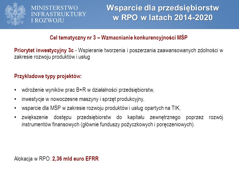 Wsparcie dla przedsiębiorstw w RPO w latach 2014-2020 Cel tematyczny nr 3 – Wzmacnianie konkurencyjności MŚP Priorytet inwestycyjny 3c - Wspieranie tw