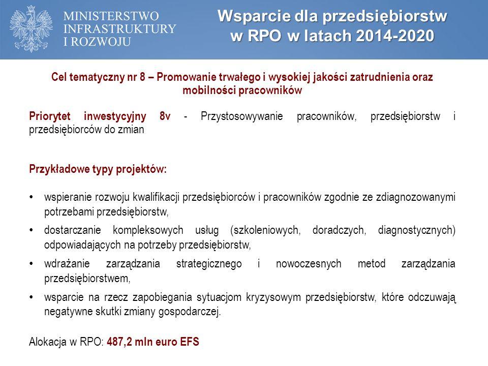Wsparcie dla przedsiębiorstw w RPO w latach 2014-2020 Cel tematyczny nr 8 – Promowanie trwałego i wysokiej jakości zatrudnienia oraz mobilności pracowników Priorytet inwestycyjny 8v - Przystosowywanie pracowników, przedsiębiorstw i przedsiębiorców do zmian Przykładowe typy projektów: wspieranie rozwoju kwalifikacji przedsiębiorców i pracowników zgodnie ze zdiagnozowanymi potrzebami przedsiębiorstw, dostarczanie kompleksowych usług (szkoleniowych, doradczych, diagnostycznych) odpowiadających na potrzeby przedsiębiorstw, wdrażanie zarządzania strategicznego i nowoczesnych metod zarządzania przedsiębiorstwem, wsparcie na rzecz zapobiegania sytuacjom kryzysowym przedsiębiorstw, które odczuwają negatywne skutki zmiany gospodarczej.