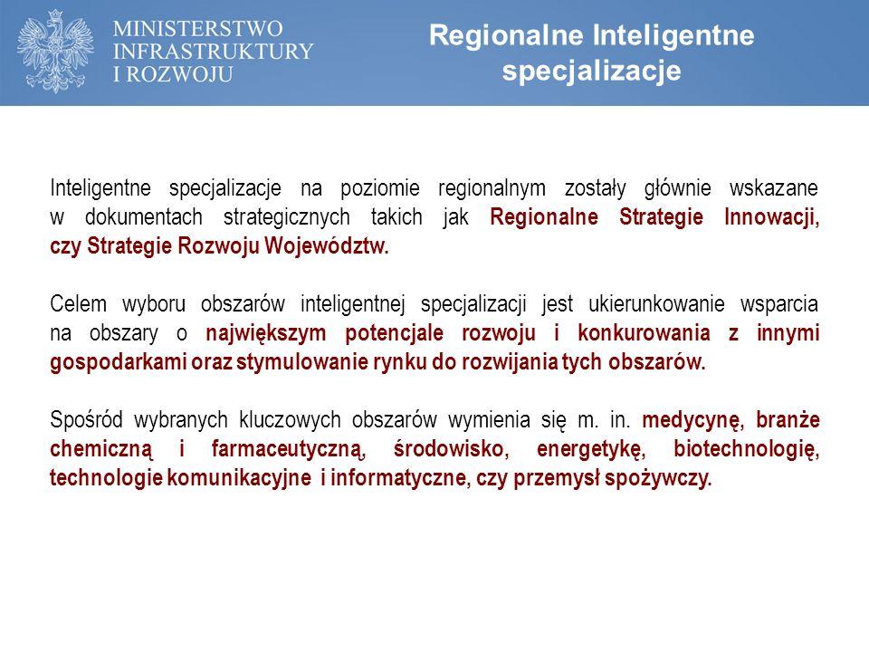 Inteligentne specjalizacje na poziomie regionalnym zostały głównie wskazane w dokumentach strategicznych takich jak Regionalne Strategie Innowacji, cz