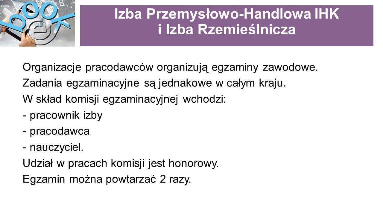 Izba Przemysłowo-Handlowa IHK i Izba Rzemieślnicza Organizacje pracodawców organizują egzaminy zawodowe.