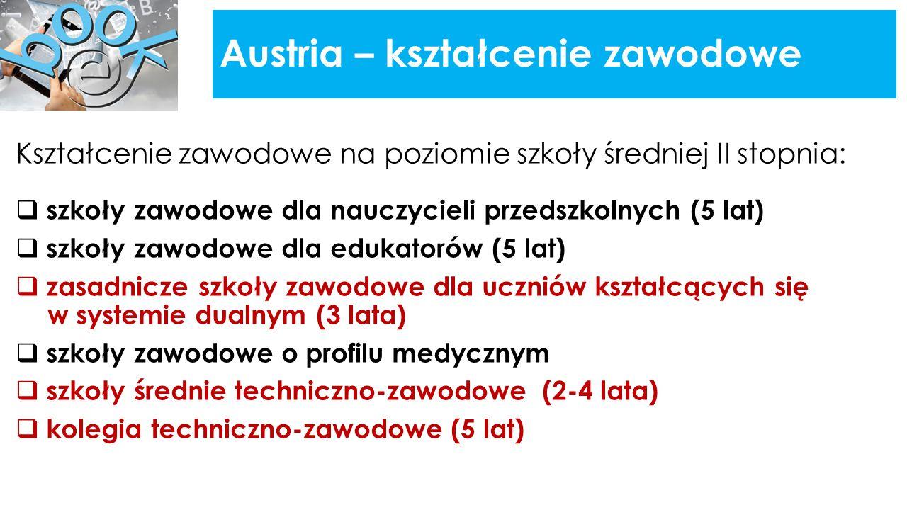 Austria – kształcenie zawodowe Kształcenie zawodowe na poziomie szkoły średniej II stopnia:  szkoły zawodowe dla nauczycieli przedszkolnych (5 lat)  szkoły zawodowe dla edukatorów (5 lat)  zasadnicze szkoły zawodowe dla uczniów kształcących się w systemie dualnym (3 lata)  szkoły zawodowe o profilu medycznym  szkoły średnie techniczno-zawodowe (2-4 lata)  kolegia techniczno-zawodowe (5 lat)