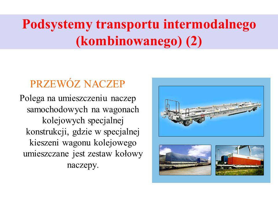 Podsystemy transportu intermodalnego (kombinowanego) (2) PRZEWÓZ NACZEP Polega na umieszczeniu naczep samochodowych na wagonach kolejowych specjalnej konstrukcji, gdzie w specjalnej kieszeni wagonu kolejowego umieszczane jest zestaw kołowy naczepy.
