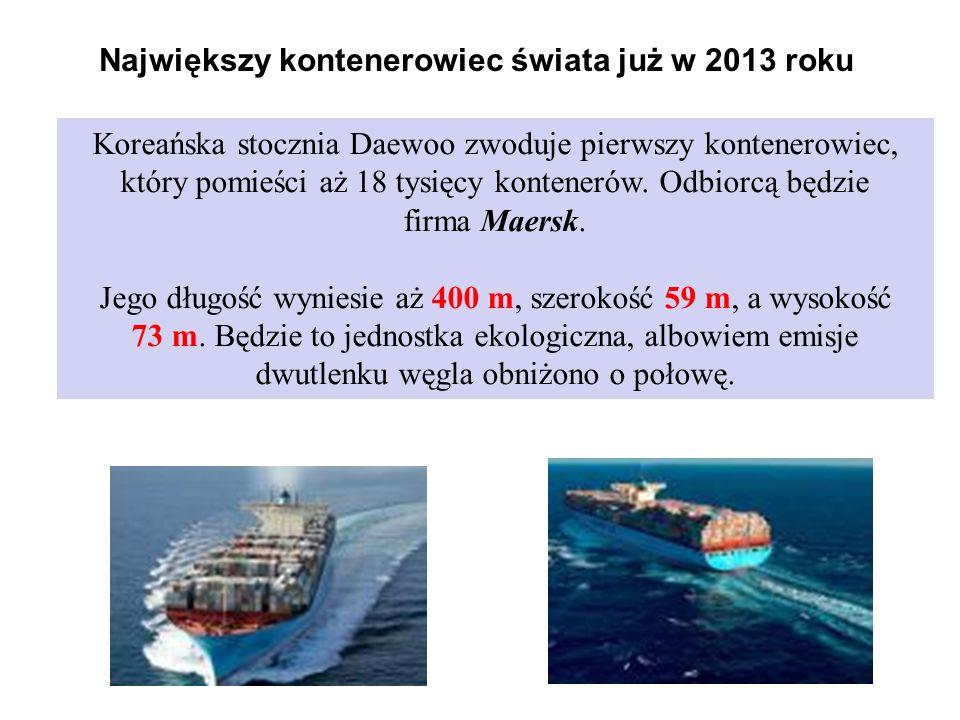 Największy kontenerowiec świata już w 2013 roku Koreańska stocznia Daewoo zwoduje pierwszy kontenerowiec, który pomieści aż 18 tysięcy kontenerów.