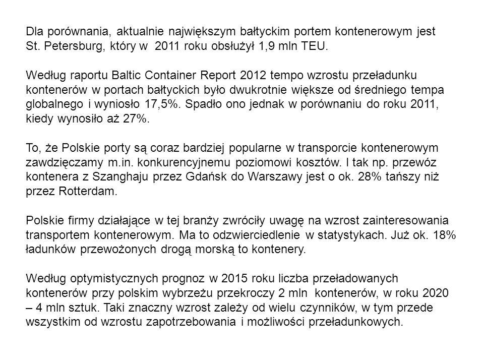 Dla porównania, aktualnie największym bałtyckim portem kontenerowym jest St.