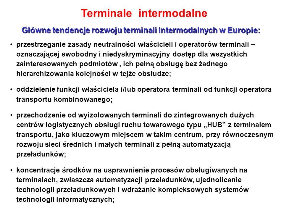 """Terminale intermodalne Główne tendencje rozwoju terminali intermodalnych w Europie: przestrzeganie zasady neutralności właścicieli i operatorów terminali – oznaczającej swobodny i niedyskryminacyjny dostęp dla wszystkich zainteresowanych podmiotów, ich pełną obsługę bez żadnego hierarchizowania kolejności w tejże obsłudze; oddzielenie funkcji właściciela i/lub operatora terminali od funkcji operatora transportu kombinowanego; przechodzenie od wyizolowanych terminali do zintegrowanych dużych centrów logistycznych obsługi ruchu towarowego typu """"HUB z terminalem transportu, jako kluczowym miejscem w takim centrum, przy równoczesnym rozwoju sieci średnich i małych terminali z pełną automatyzacją przeładunków; koncentracje środków na usprawnienie procesów obsługiwanych na terminalach, zwłaszcza automatyzacji przeładunków, ujednolicanie technologii przeładunkowych i wdrażanie kompleksowych systemów technologii informatycznych;"""
