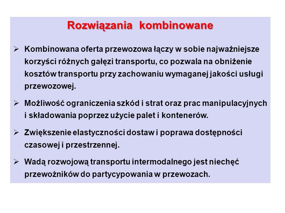 Jednostki kontenerowe, które docierają do portów morskich, dystrybuowane są (lub dostarczane do portów) na terytorium Polski przy udziale dwóch gałęzi transportu.