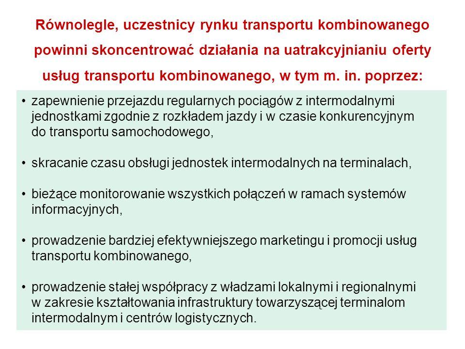 Równolegle, uczestnicy rynku transportu kombinowanego powinni skoncentrować działania na uatrakcyjnianiu oferty usług transportu kombinowanego, w tym m.