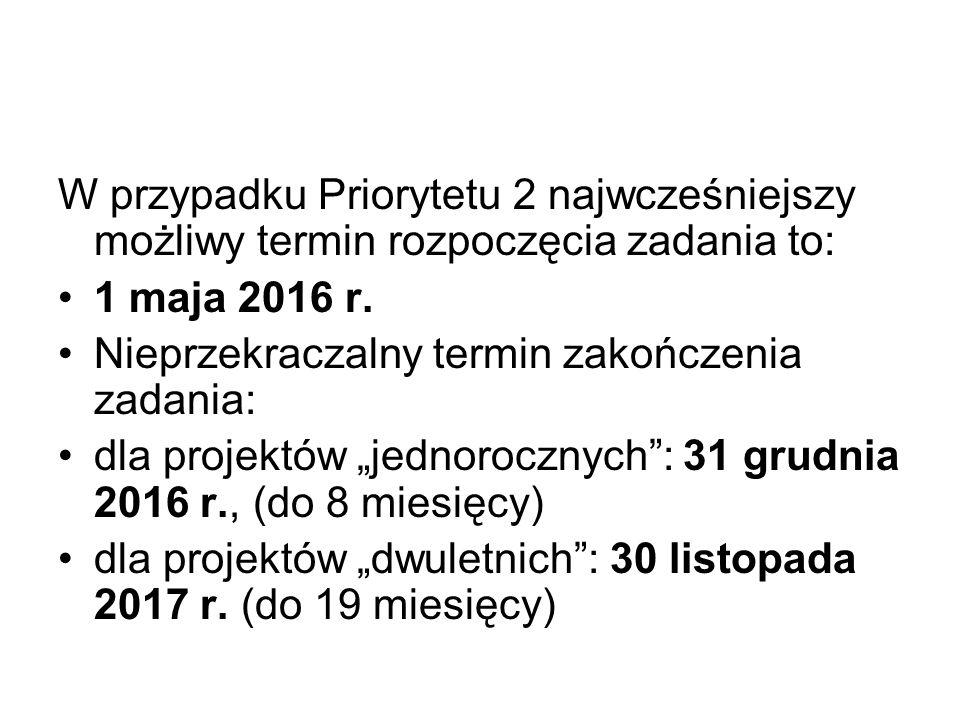 W przypadku Priorytetu 2 najwcześniejszy możliwy termin rozpoczęcia zadania to: 1 maja 2016 r.