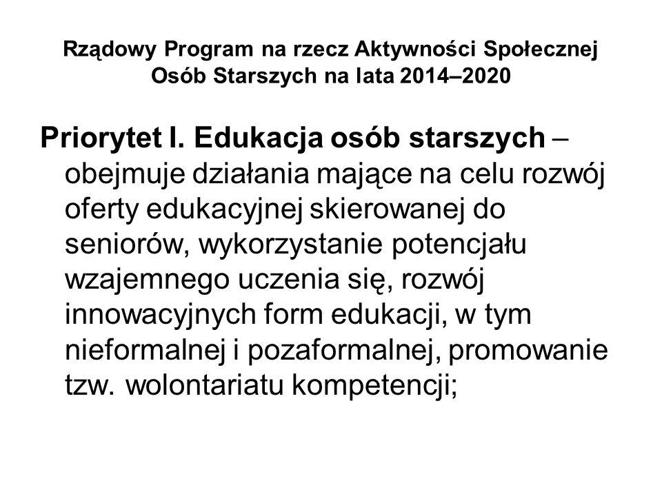 Rządowy Program na rzecz Aktywności Społecznej Osób Starszych na lata 2014–2020 Priorytet I.