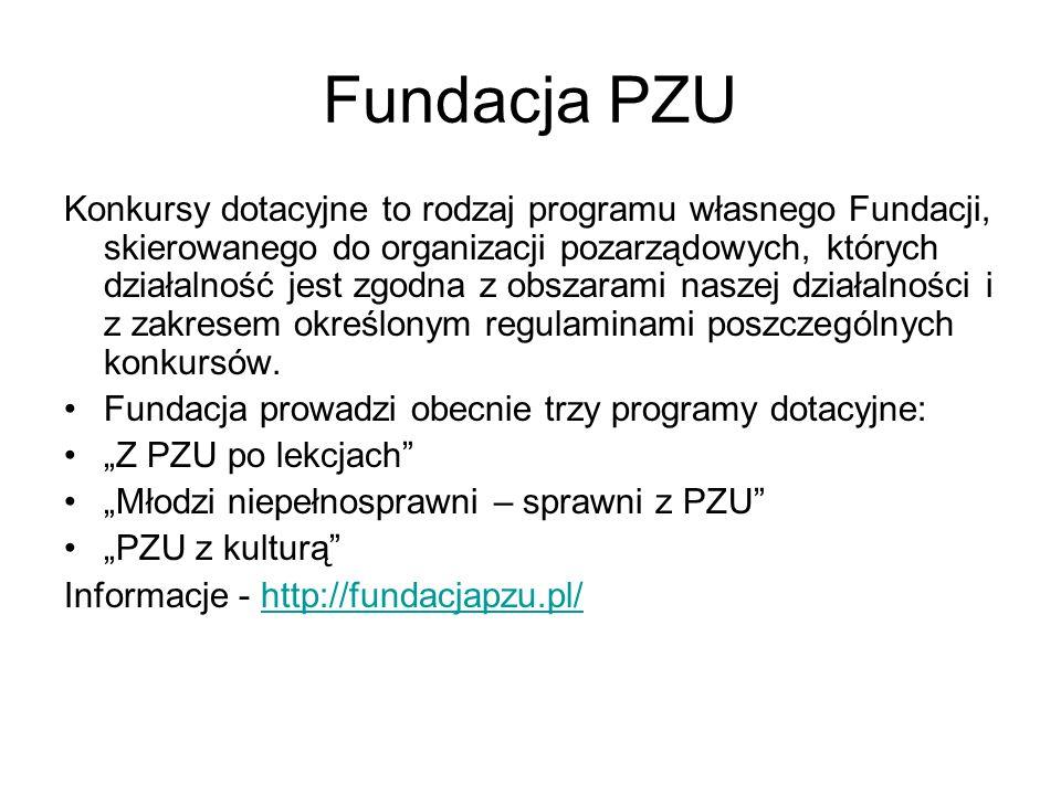 Fundacja PZU Konkursy dotacyjne to rodzaj programu własnego Fundacji, skierowanego do organizacji pozarządowych, których działalność jest zgodna z obszarami naszej działalności i z zakresem określonym regulaminami poszczególnych konkursów.