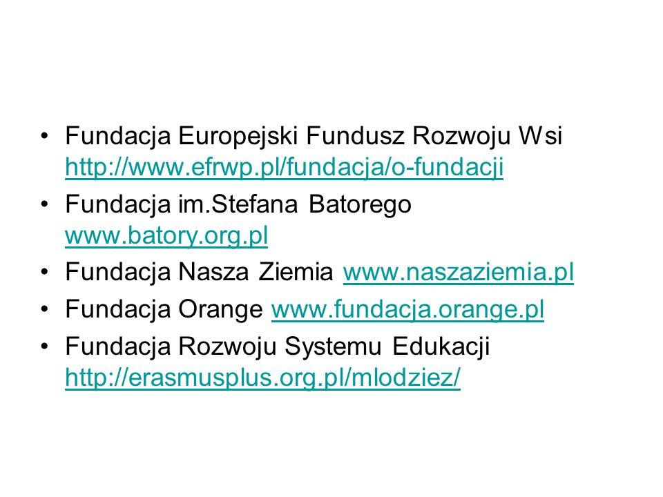 Fundacja Europejski Fundusz Rozwoju Wsi http://www.efrwp.pl/fundacja/o-fundacji http://www.efrwp.pl/fundacja/o-fundacji Fundacja im.Stefana Batorego www.batory.org.pl www.batory.org.pl Fundacja Nasza Ziemia www.naszaziemia.plwww.naszaziemia.pl Fundacja Orange www.fundacja.orange.plwww.fundacja.orange.pl Fundacja Rozwoju Systemu Edukacji http://erasmusplus.org.pl/mlodziez/ http://erasmusplus.org.pl/mlodziez/