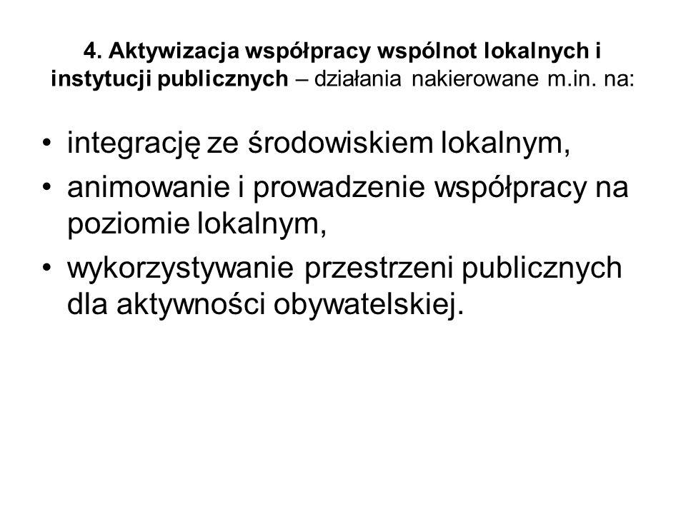 4. Aktywizacja współpracy wspólnot lokalnych i instytucji publicznych – działania nakierowane m.in.