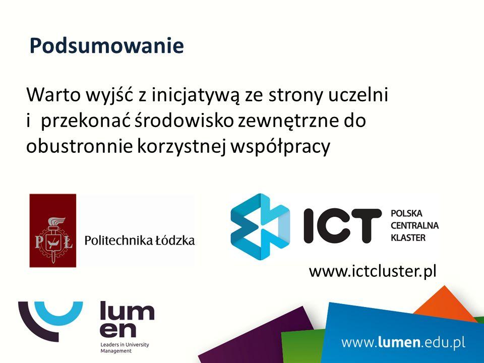 Podsumowanie Warto wyjść z inicjatywą ze strony uczelni i przekonać środowisko zewnętrzne do obustronnie korzystnej współpracy www.ictcluster.pl