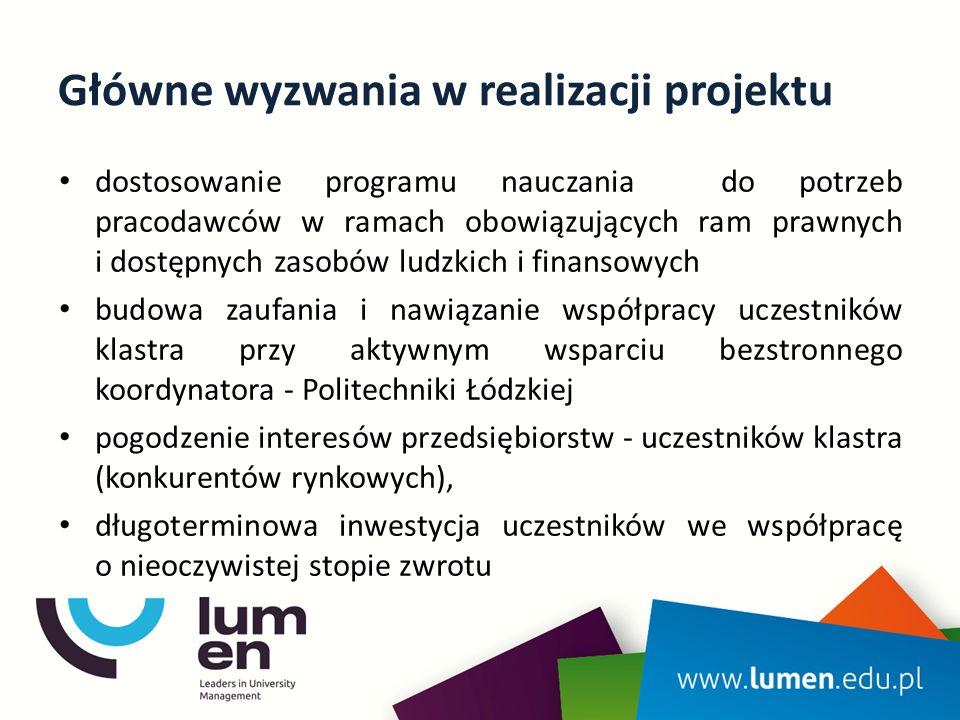 Główne wyzwania w realizacji projektu dostosowanie programu nauczania do potrzeb pracodawców w ramach obowiązujących ram prawnych i dostępnych zasobów ludzkich i finansowych budowa zaufania i nawiązanie współpracy uczestników klastra przy aktywnym wsparciu bezstronnego koordynatora - Politechniki Łódzkiej pogodzenie interesów przedsiębiorstw - uczestników klastra (konkurentów rynkowych), długoterminowa inwestycja uczestników we współpracę o nieoczywistej stopie zwrotu