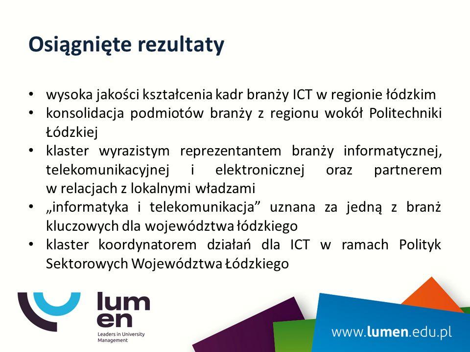 """Osiągnięte rezultaty wysoka jakości kształcenia kadr branży ICT w regionie łódzkim konsolidacja podmiotów branży z regionu wokół Politechniki Łódzkiej klaster wyrazistym reprezentantem branży informatycznej, telekomunikacyjnej i elektronicznej oraz partnerem w relacjach z lokalnymi władzami """"informatyka i telekomunikacja uznana za jedną z branż kluczowych dla województwa łódzkiego klaster koordynatorem działań dla ICT w ramach Polityk Sektorowych Województwa Łódzkiego"""