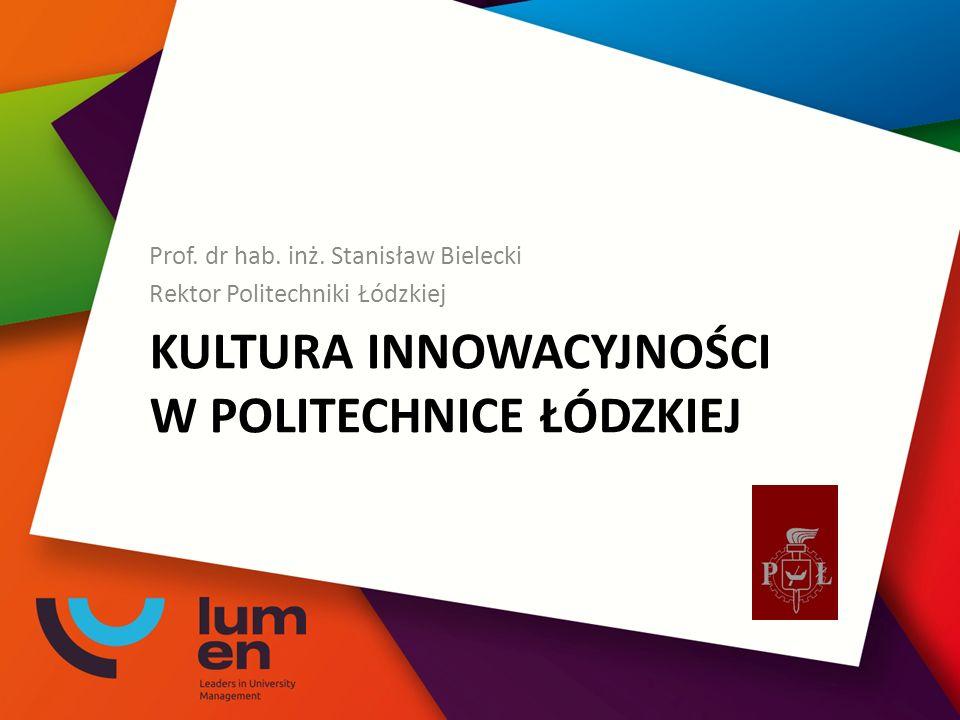 KULTURA INNOWACYJNOŚCI W POLITECHNICE ŁÓDZKIEJ Prof.