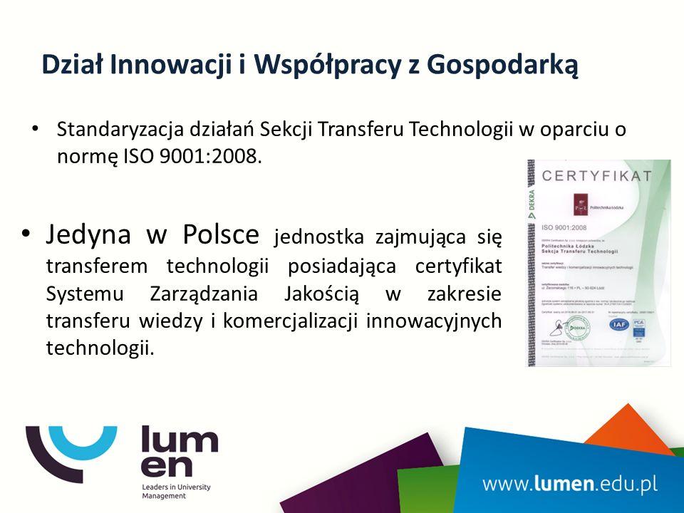 Dział Innowacji i Współpracy z Gospodarką Standaryzacja działań Sekcji Transferu Technologii w oparciu o normę ISO 9001:2008.