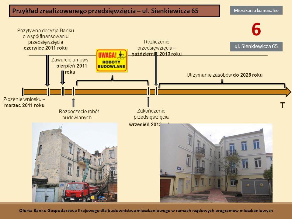 Złożenie wniosku – marzec 2011 roku Pozytywna decyzja Banku o współfinansowaniu przedsięwzięcia czerwiec 2011 roku Zawarcie umowy – sierpień 2011 roku Utrzymanie zasobów do 2028 roku Rozliczenie przedsięwzięcia – październik 2013 roku Zakończenie przedsięwzięcia wrzesień 2013 roku Rozpoczęcie robót budowlanych – październik 2012 roku T Mieszkania komunalne 6 ul.