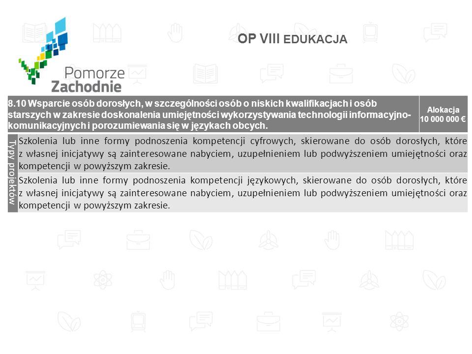 8.10 Wsparcie osób dorosłych, w szczególności osób o niskich kwalifikacjach i osób starszych w zakresie doskonalenia umiejętności wykorzystywania technologii informacyjno- komunikacyjnych i porozumiewania się w językach obcych.