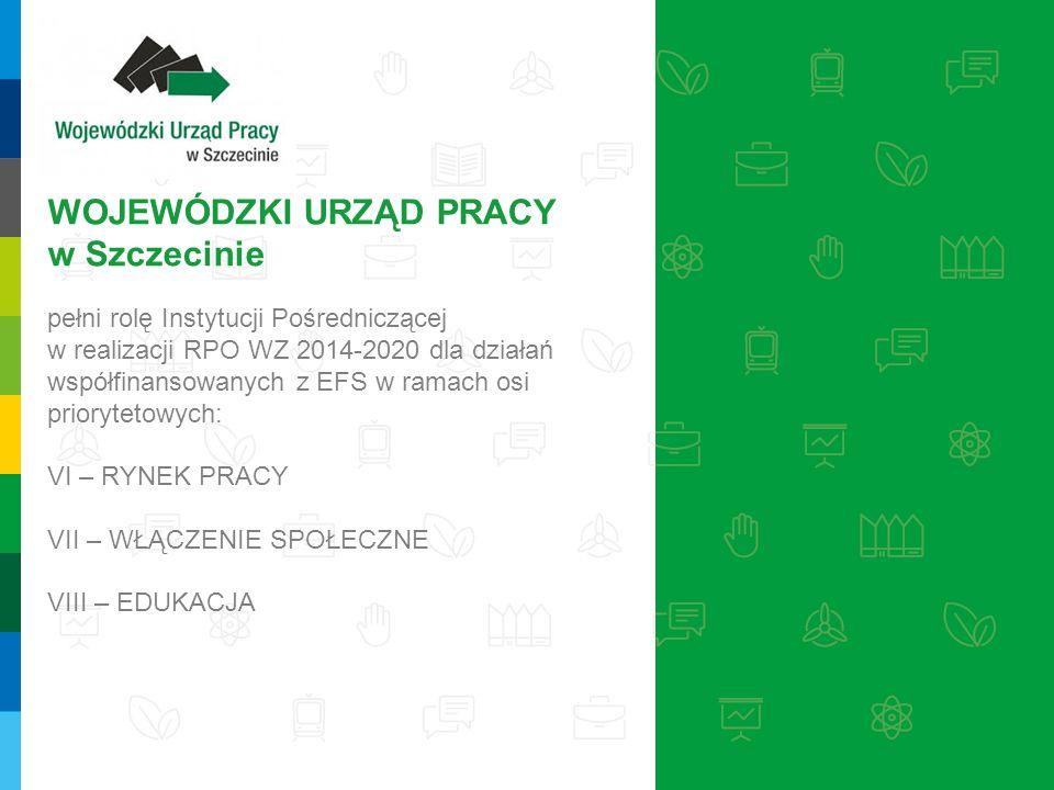 WOJEWÓDZKI URZĄD PRACY w Szczecinie pełni rolę Instytucji Pośredniczącej w realizacji RPO WZ 2014-2020 dla działań współfinansowanych z EFS w ramach osi priorytetowych: VI – RYNEK PRACY VII – WŁĄCZENIE SPOŁECZNE VIII – EDUKACJA