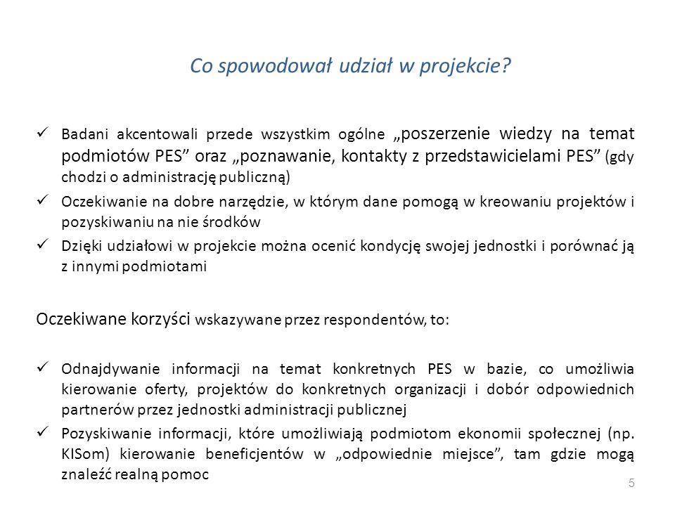 """Co spowodował udział w projekcie? 5 Badani akcentowali przede wszystkim ogólne """"poszerzenie wiedzy na temat podmiotów PES"""" oraz """"poznawanie, kontakty"""